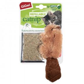 Игрушка для кошек GiGwi Refillable Catnip Бобер с кошачьей мятой + 3 пакетика (75301) 16 см