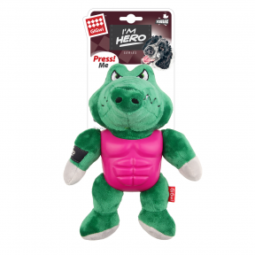 Игрушка для собак GiGwi I'm Hero Крокодил с пищалкой в резиновой защите (75453) 21 см