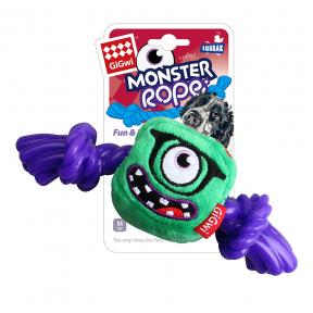 Игрушка для собак GiGwi Monster Rope Монстр с резиновой веревкой и пищалкой (75434) 23 см
