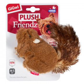 Игрушка для собак GiGwi Plush Friendz Белка с пищалкой (75308) 16 см