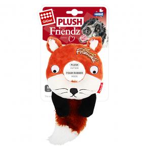 Игрушка для собак GiGwi Plush Friendz Лиса с пищалкой, внутри кольцо из теннисного материала (75402) 19 см