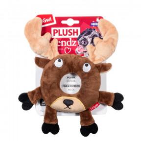 Игрушка для собак GiGwi Plush Friendz Лось с пищалкой, внутри кольцо из теннисного материала (75305) 19 см