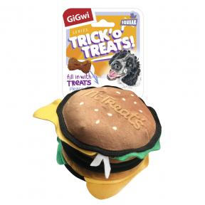 Игрушка для собак GiGwi Trick'O'Treats! Бургер с пищалкой и нишей под лакомство (75523) 18 см