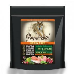 Сухой корм для собак PRIMORDIAL Grain Free Adult All Breed беззерновой, с курицей, с лососем 400 г