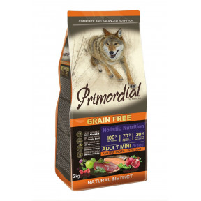 Сухой корм для собак PRIMORDIAL Grain Free Adult Mini Breed беззерновой, с форелью, с уткой (для мелких пород) 2 кг