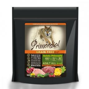 Сухой корм для собак PRIMORDIAL Grain Free Adult All Breed беззерновой, с олениной, с индейкой 400 г