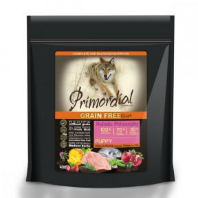 Сухой корм для щенков PRIMORDIAL Grain Free беззерновой, с курицей, с рыбой 400 г