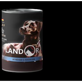 Влажный корм для собак LANDOR беззерновой, с ягненком, с лососем 400 г