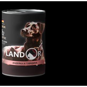 Влажный корм для щенков LANDOR беззерновой, с индейкой, с говядиной 400 г