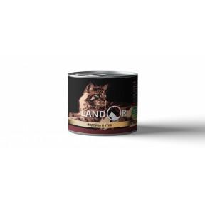 Влажный корм для котят LANDOR Kitten беззерновой, индейка с уткой 200 г