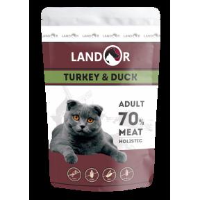 Влажный корм для кошек LANDOR Adult беззерновой, индейка с уткой 85 г
