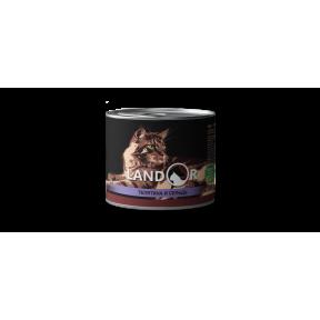 Влажный корм для пожилых кошек LANDOR беззерновой, телятина с сельдью 200 г