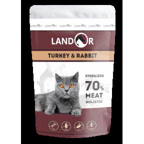 Влажный корм для стерилизованных кошек LANDOR Sterilized беззерновой, индейка с кроликом 85 г
