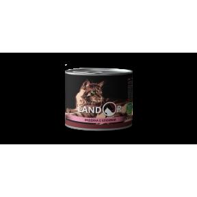 Влажный корм для стерилизованных кошек LANDOR беззерновой, индейка с клюквой 200 г
