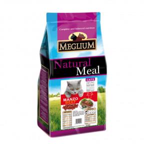 Сухой корм для кошек Meglium Natural Meal c говядиной 1.5 кг