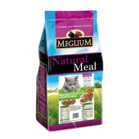 Сухой корм для кошек Meglium Natural Meal c говядиной, c курицей и овощами 15 кг