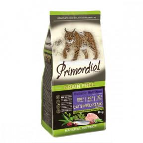 Сухой корм для стерилизованных кошек PRIMORDIAL Grain Free Cat Sterilizzato Turkey Farring беззерновой, с индейкой, с сельдью 400 г