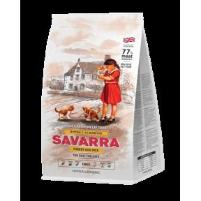 Сухой корм для котят SAVARRA Kitten гипоаллергенный, с индейкой, с рисом 12 кг