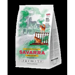 Сухой корм для кошек SAVARRA Hairball Control гипоаллергенный, для выведения шерсти, с уткой, с рисом 12 кг