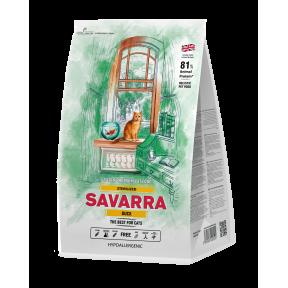 Сухой корм для стерилизованных кошек SAVARRA Sterilized гипоаллергенный, с уткой, с рисом 12 кг