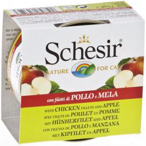 Влажный корм для кошек SCHESIR с курицей, с яблоком (кусочки в желе) 75 г
