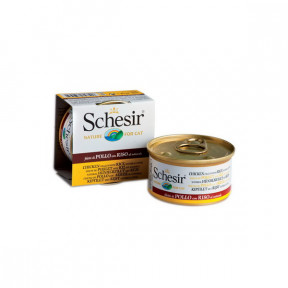 Влажный корм для кошек SCHESIR с курицей, с рисом (кусочки в соусе) 85 г