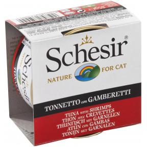 Влажный корм для кошек SCHESIR с тунцом, с креветками (кусочки в желе) 85 г
