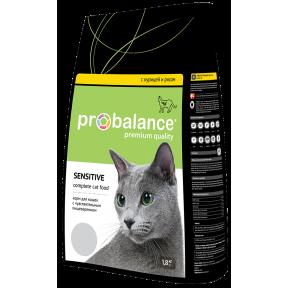 Сухой корм для кошек ProBalance Adult Sensitive при чувствительном пищеварении, с курицей, с рисом 1.8 кг