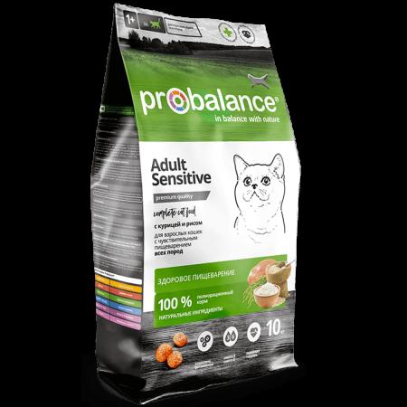 Сухой корм для кошек ProBalance Adult Sensitive при чувствительном пищеварении, с курицей, с рисом 10 кг
