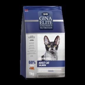 Сухой корм для кошек GINA Elite Adult Cat беззерновой, лосось с бататом 3 кг