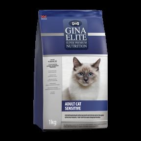 Сухой корм для кошек GINA Elite Adult Cat Sensitive при проблемах с ЖКТ, с индейкой 1 кг