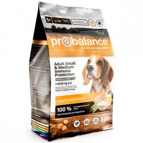 Сухой корм для собак ProBalance Adult Small&Medium Immuno Protection с мясом птицы (для мелких и средних пород) 500 г