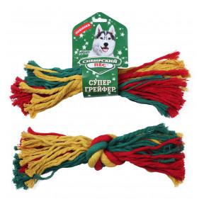 Игрушка для собак Сибирский пес СуперГрейфер цветная веревка 1 узел 3х32 см