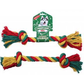 Игрушка для собак Сибирский пес СуперГрейфер цветная веревка 2 узла 3х45 см