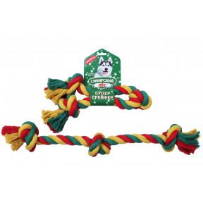 Игрушка для собак Сибирский пес СуперГрейфер цветная веревка 3 узла 3х56 см
