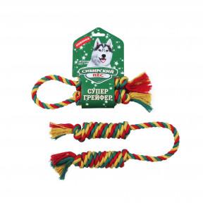 Игрушка для собак Сибирский пес СуперГрейфер цветная Веревка Двойной БОН-БОН с хвостиками 10х60 см