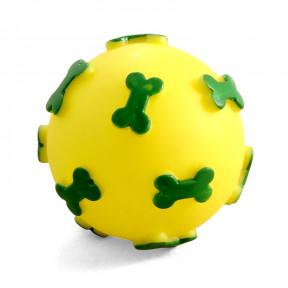 Мячик для собак Triol с косточками, винил, с пищалкой 6 см