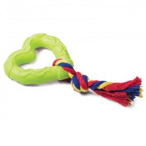 Игрушка для собак Triol Сердечко с веревкой, цельнолитая резина 70/ 15 см