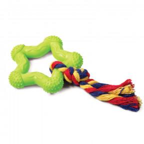 Игрушка для собак Triol Звездочка с веревкой, цельнолитая резина d75/ 18 cм