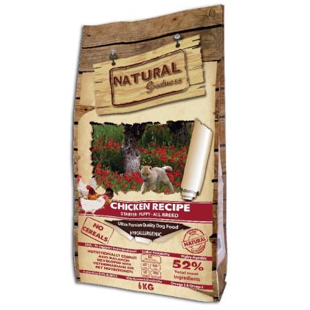 Сухой корм для щенков, для беременных/кормящих собак Natural Greatness Chicken Recipe Starter Puppy беззерновой, с курицей, с лососем 6 кг