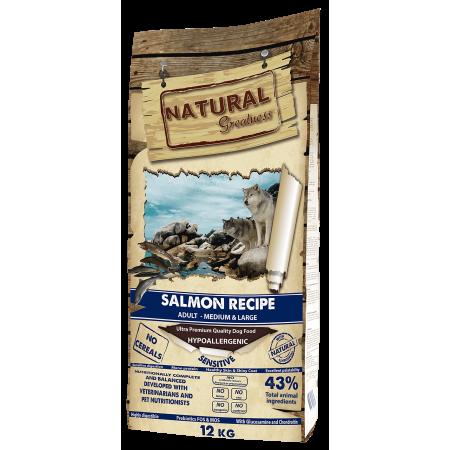Сухой корм для собак Natural Greatness Salmon Recipe Adult Medium & Large беззерновой, с лососем, с картофелем (для средних и крупных пород) 12 кг