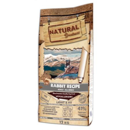 Сухой корм для взрослых и пожилых собак Natural Greatness Rabbit Recipe Light & Fit беззерновой, при склонности к избыточному весу, с кроликом 12 кг