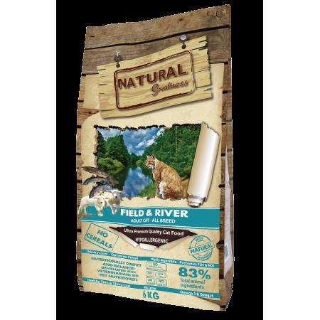 Сухой корм для кошек Natural Greatness Field & River Adult Cat беззерновой, с лососем, с ягненком 6 кг