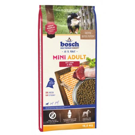 Сухой корм для собак Bosch Mini Adult при чувствительном пищеваркнии, с ягненком с рисом (для мелких пород) 15 кг