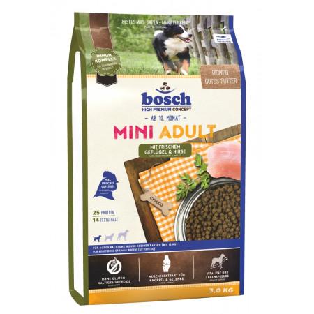 Сухой корм для собак Bosch Mini Adult с домашней птицей, с просом (для мелких пород) 3 кг