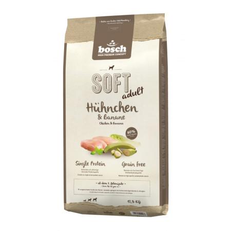 Полувлажный корм для собак Bosch Soft беззерновой, с курицей с бананами 12.5 кг