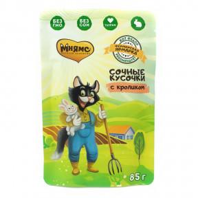 Влажный корм для кошек Мнямс Кот Федор рекомендует Фермерская ярмарка, сочные кусочки с кроликом 85 г