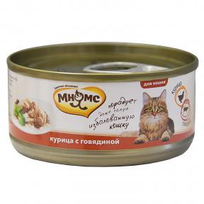 Влажный корм для кошек Мнямс Курица с говядиной (кусочки в желе) 70 г