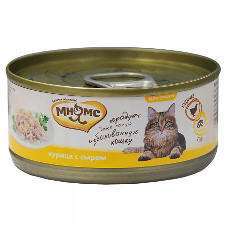 Влажный корм для кошек Мнямс Курица с сыром (кусочки в желе) 70 г