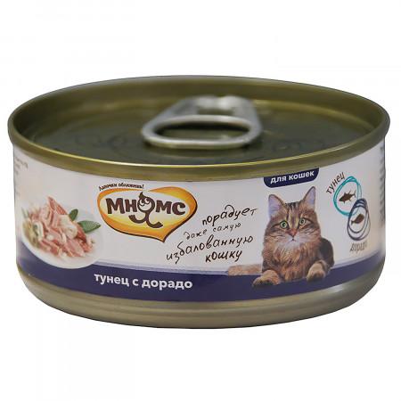 Влажный корм для кошек Мнямс Тунец с дорадо (кусочки в желе) 70 г